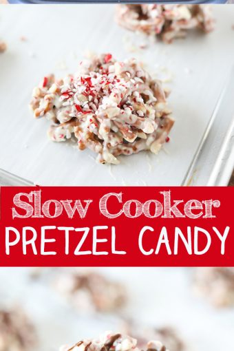 Slow Cooker White Chocolate Peppermint Pretzel Candy