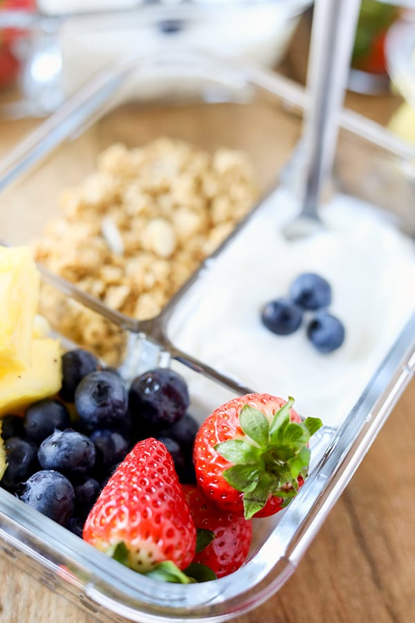 Breakfast Meal Prep Fruit and Yogurt Bistro Boxes