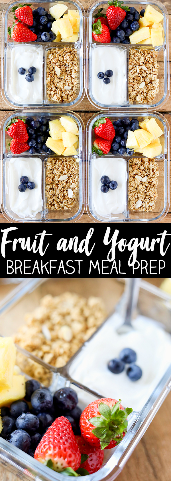 Breakfast Meal Prep is the best way to get your morning and week off a to a healthy start! Packed with protein, fresh fruit and a sprinkle of low-fat granola, these Fruit and Yogurt Bistro Boxes are a fresh idea for busy mornings. #breakfast #healthy #healthyrecipes #healthyeating More family favorite recipes on number-2-pencil.com. #familyfavorites