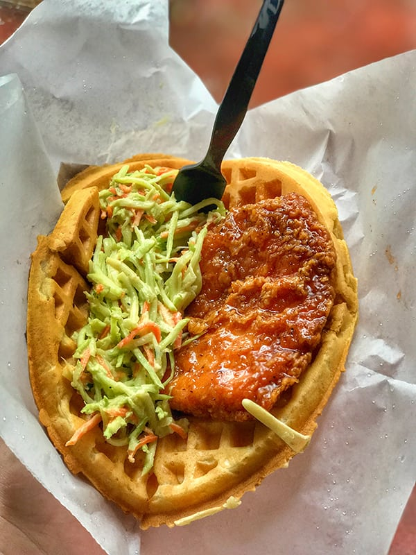 Sweet and Spicy Chicken and Waffle Sandwich - What to Eat at Walt Disney World