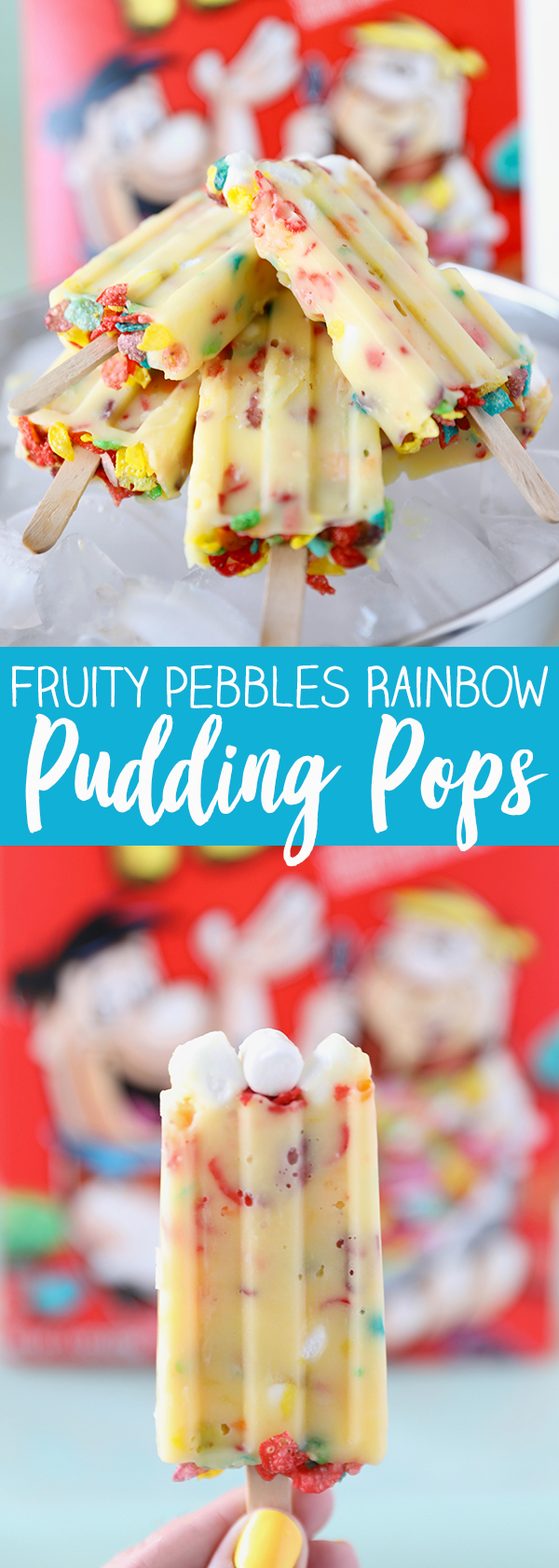 Fruity Pebbles Rainbow Pudding Pops