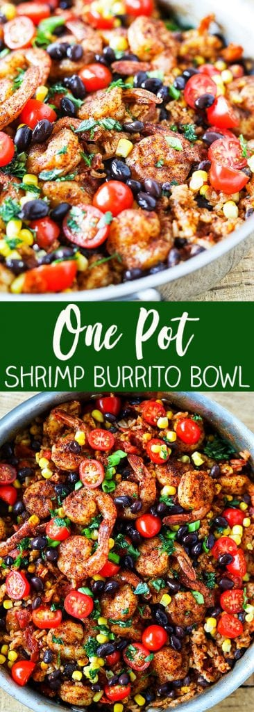 One Pot Shrimp Burrito Bowl - gluten-free, dairy-free and just 6 Weight Watchers Freestyle points. Easy family friendly one-pot dinner idea! Seasoned shrimp with a squeeze of fresh lime juice, tender black beans, sweet yellow corn, fire roasted tomatoes and homemade mexican rice, all in one pot!!