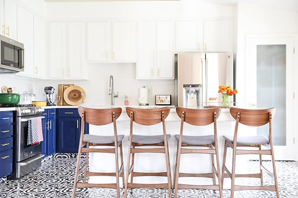 Blue and White Kitchen Cabinets with Black and White Tile Kitchen Remodel