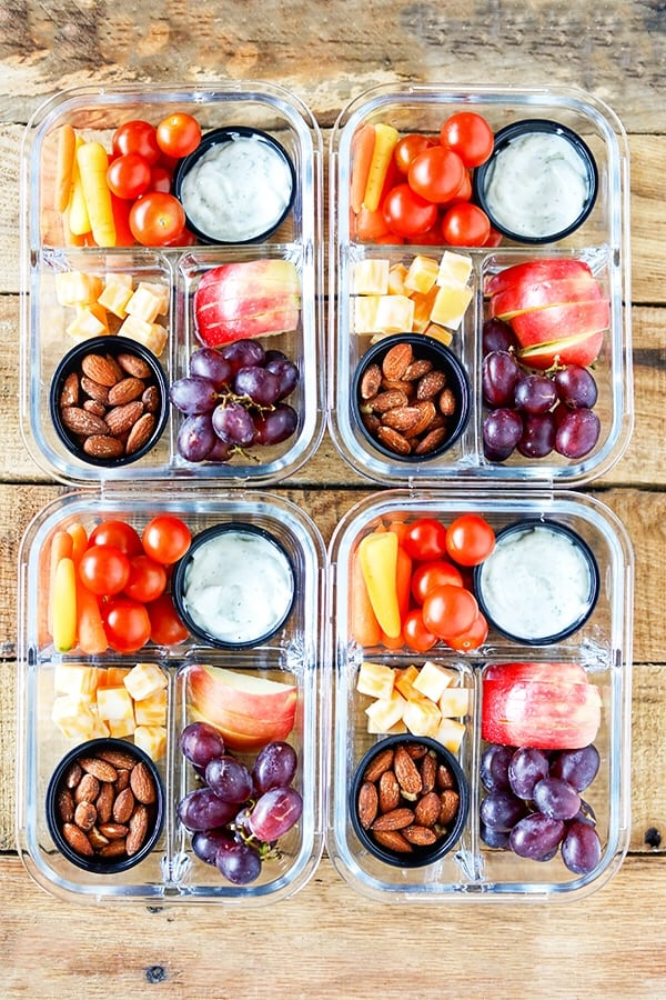Easy Meal Prep Bistro Style Make-Ahead Fruit and Veggie Snack Boxes #MealPrep #EasyMealPrep