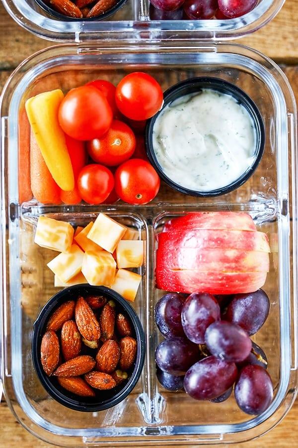 Easy Meal Prep Bistro Style Make-Ahead Fruit and Veggie Snack Boxes #MealPrep #EasyMealPrep