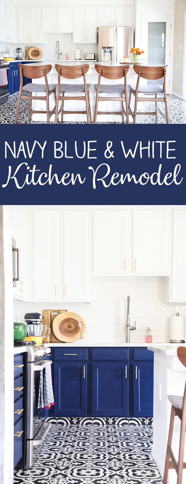 Navy Blue and White Kitchen Remodel on a budget - Navy Blue kitchen cabinets, gold cabinet hardware and black and white tile floor.