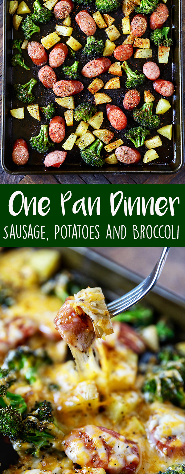 This One Pan Dinner with sausage, potatoes and broccoli is packed with flavor and so easy to make. Smoked turkey sausage, roasted potatoes and broccoli seasoned and topped with melty cheese. More family favorite recipes on number-2-pencil.com. #familyfavorites