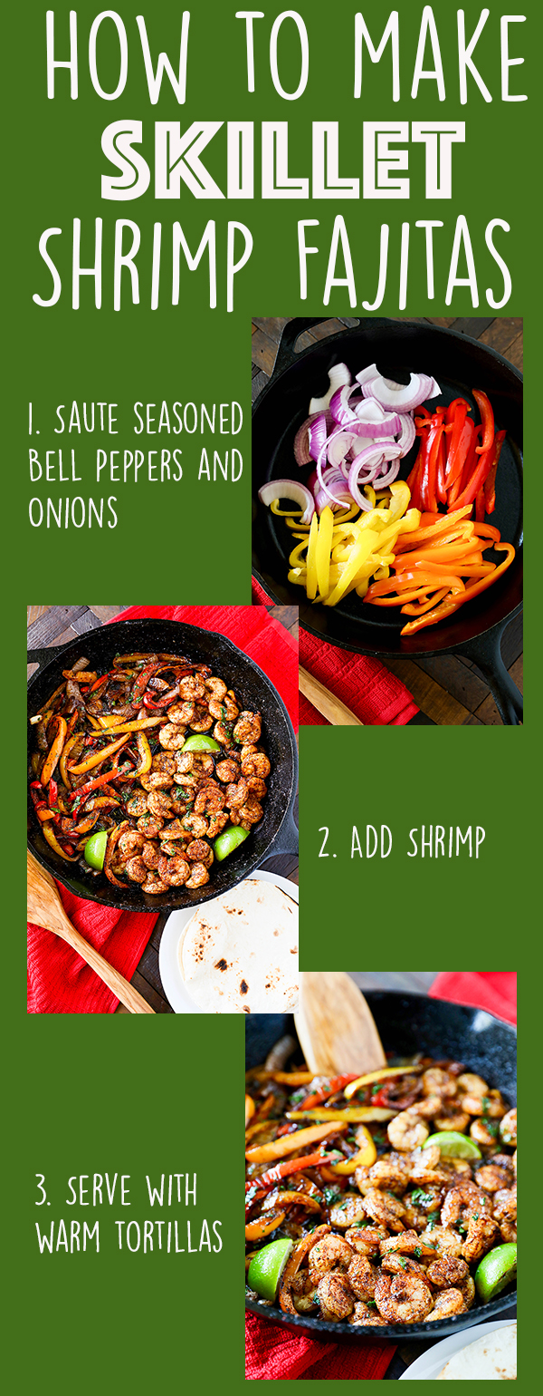 Skillet Shrimp Fajitas are a quick and easy dinner recipe that is perfect for busy weeknights. -More family favorite recipes on number-2-pencil.com. #familyfavorites