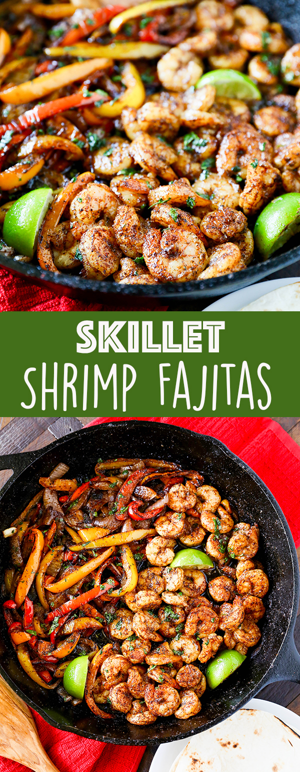 Skillet Shrimp Fajitas are a quick and easy healthy dinner recipe that is perfect for busy weeknights.