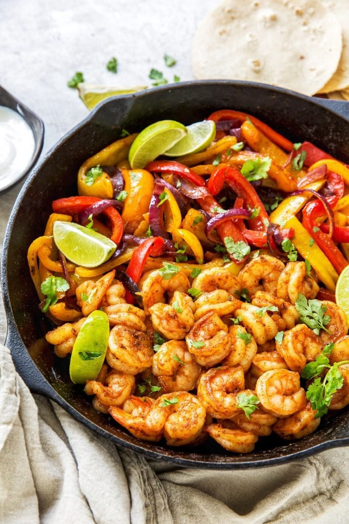 Pfanne Shrimp Fajitas Easy Dinner Idee