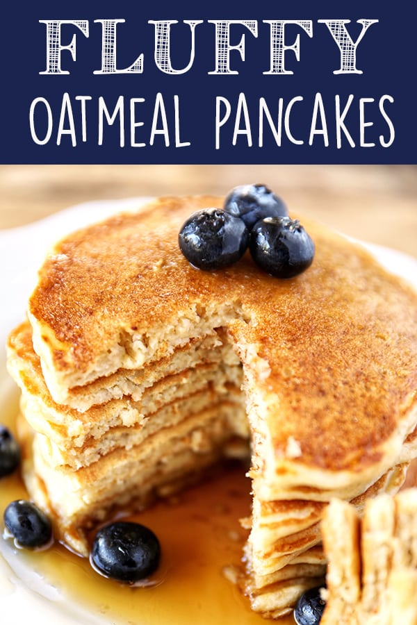 Oatmeal Pancakes are fluffy and hearty and sure to become a family favorite! Made with buttermilk, old-fashioned oats, white whole-wheat flour and sweetened with just a touch of pure maplesyrup. More family favorite recipes on number-2-pencil.com. #familyfavorite #pancakes