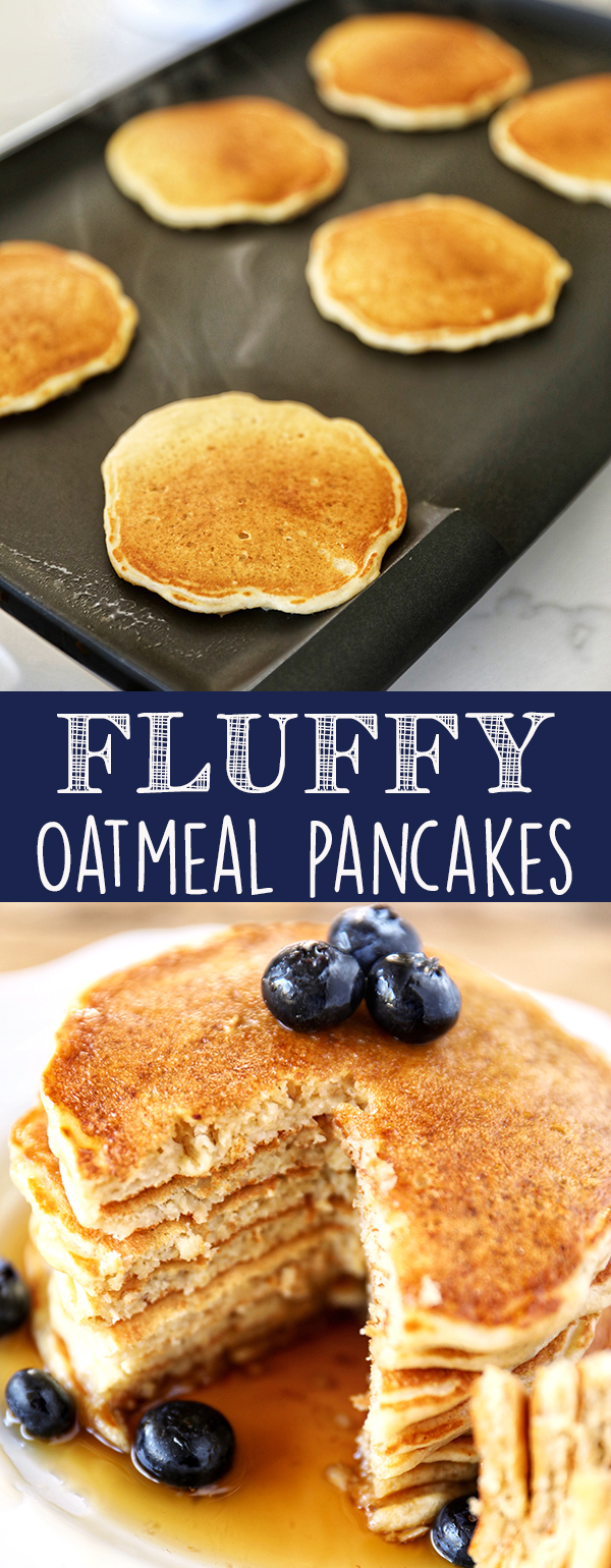 Oatmeal Pancakes are fluffy and hearty and sure to become a family favorite! Made with buttermilk, old-fashioned oats, white whole-wheat flour and sweetened with just a touch of pure maple syrup. More family favorite recipes on number-2-pencil.com. #familyfavorite #pancakes