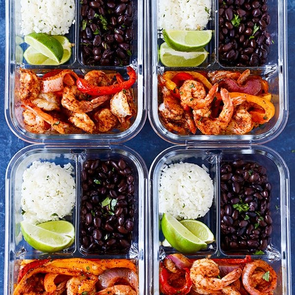 Easy Meal Prep Recipe Shrimp Fajita Bowls