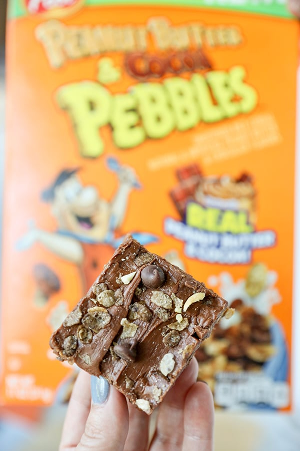 Peanut Butter & Cocoa Pebbles No Bake Fudge Bars