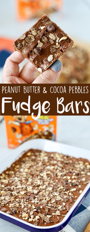 Peanut Butter & Cocoa Pebbles No Bake Fudge Bars