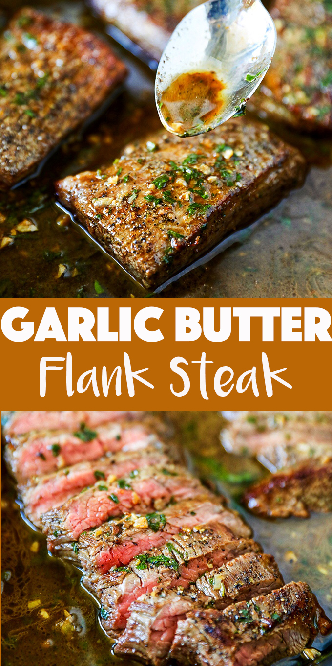Garlic Butter Flank Steak Seared and Cooked in the Oven