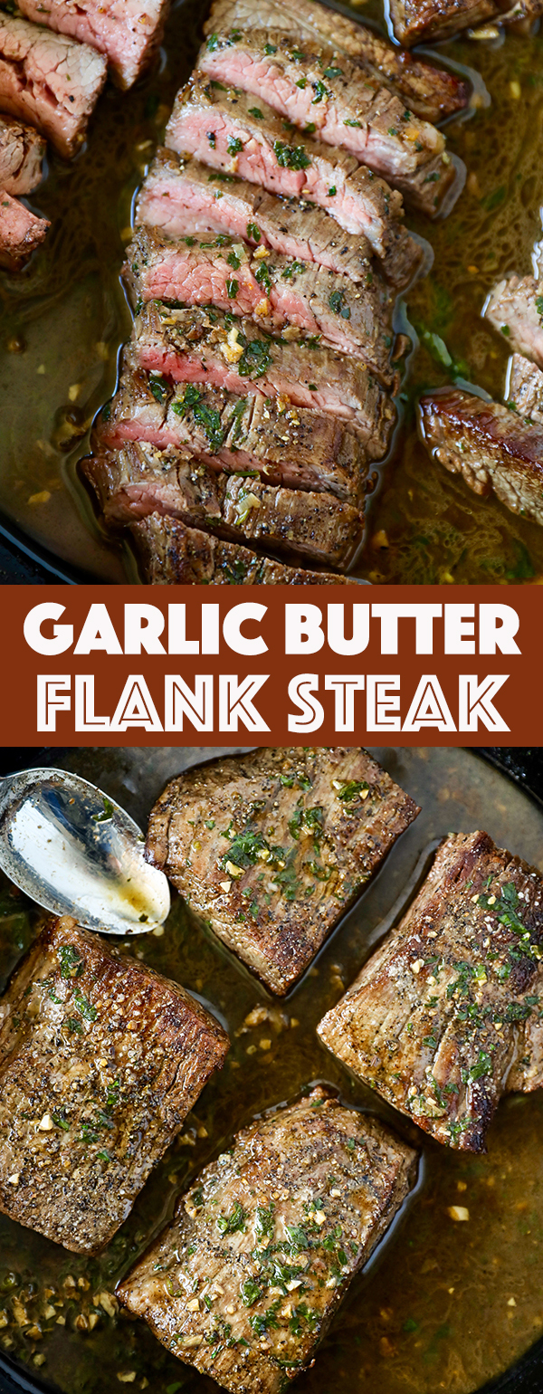 Garlic Butter Skillet Flank Steak Recipe