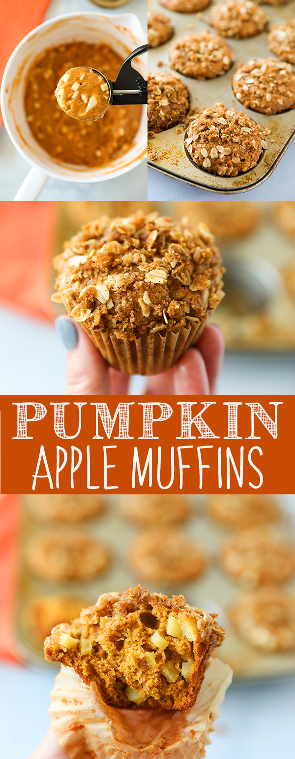 These Pumpkin Apple Muffins are so moist and delicious! Pumpkin muffins packed with fresh Granny Smith apples, pumpkin pie spice and sprinkled with homemade streusel topping.