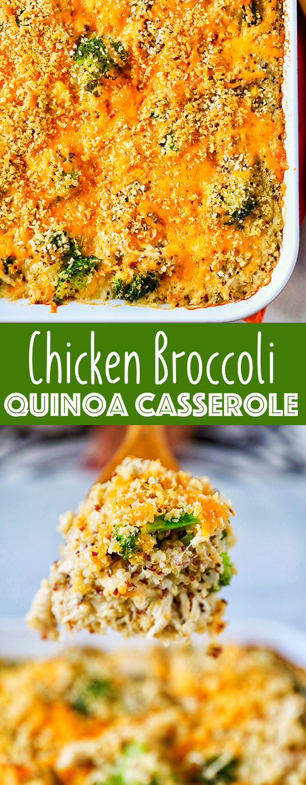 This Chicken Broccoli Casserole recipe is loaded with chicken, broccoli, hearty quinoa and sharp cheddar cheese. This modern casserole is pure comfort food and doesn't use any canned cream soups.