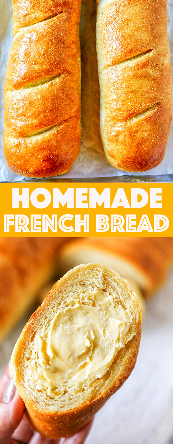 This homemade French Bread Recipe is so easy to make and absolutely delicious. Soft, fluffy homemade French bread with a delicious golden brown crust, this simple homemade bread does not disappoint.