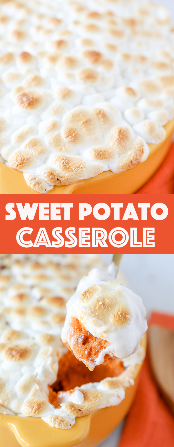 Sweet Potato Casserole -Fresh sweet potatoes mashed with butter and heavy cream, mixed with toasted pecans and topped with toasted marshmallows.