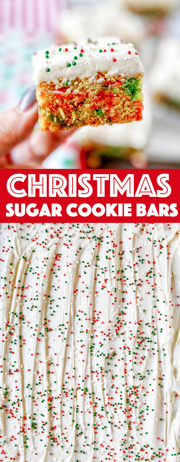 Christmas Sugar Cookie Bars -Frosted with homemade buttercream and packed with festive Christmas sprinkles, these sugar cookie bars are great for gift giving or serving a crowd.