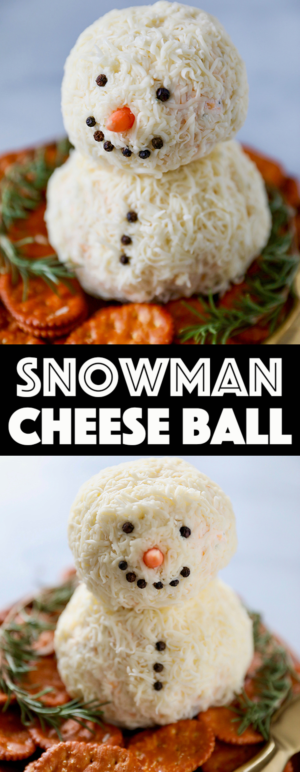 Snowman Christmas Cheese Ball Recipe - Easy Christmas Appetizer