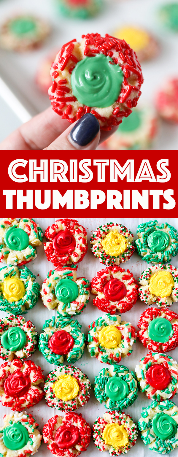 Christmas Cookie Thumbprints - easy and festive thumbprint cookie recipe!