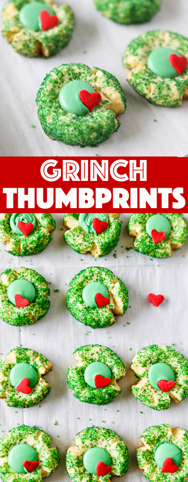 Grinch Cookies - Grinch Inspired Christmas Thumbprint Cookies