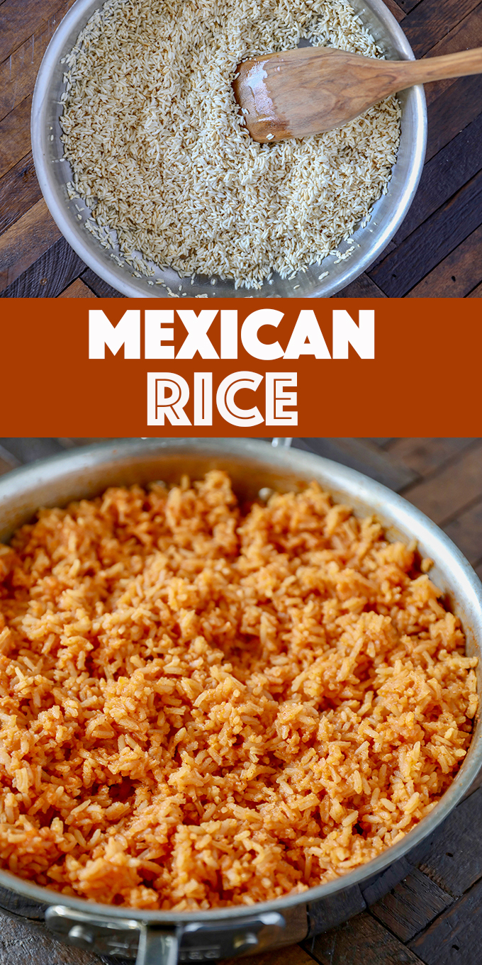 This easy Mexican Rice Recipe is a family favorite, toasted extra long grain white rice simmered in a blend of chicken broth  tomato sauce and spices. Perfect served with tacos, enchiladas and refried beans, of course!