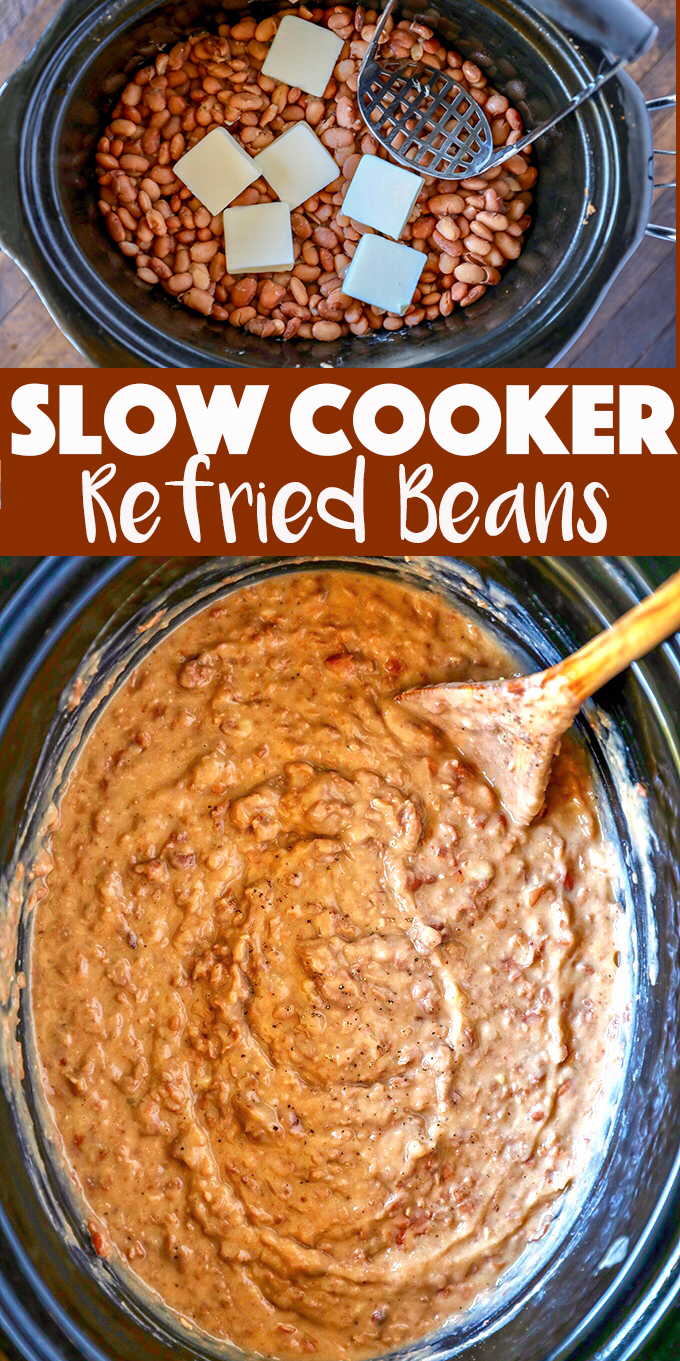 This is the easiest and best Refried Beans Recipe!  Cook and mash them right in your slow cooker, you won't go back to canned refried beans!
