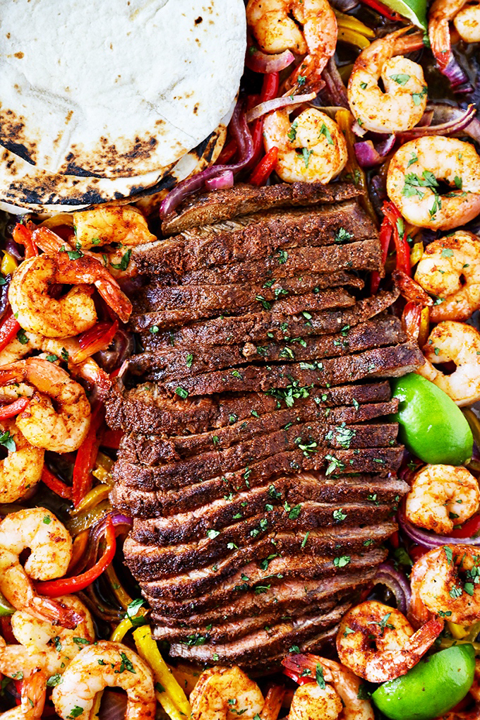 Shrimp and Steak Fajitas