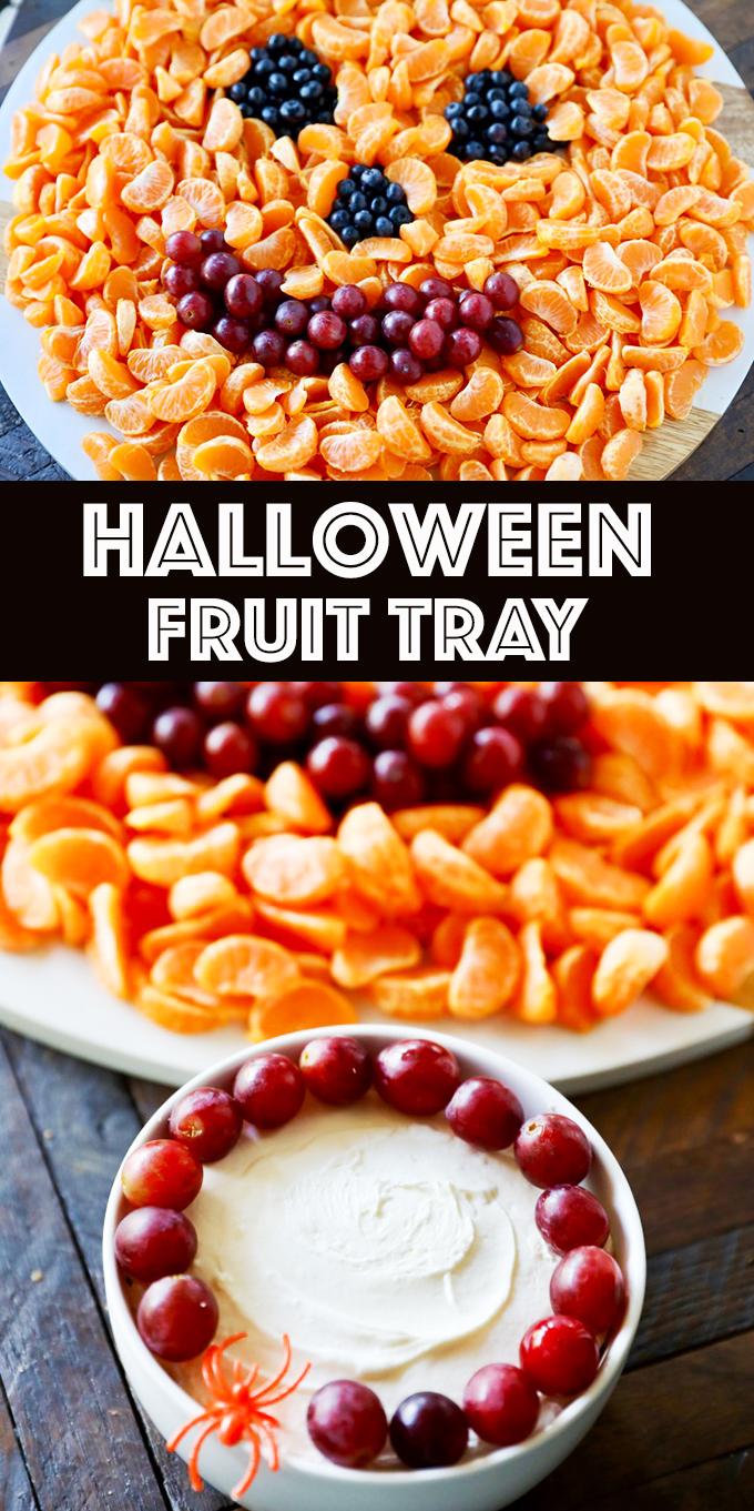 Jack O' Lantern Halloween Fruit Tray with Fruit Dip