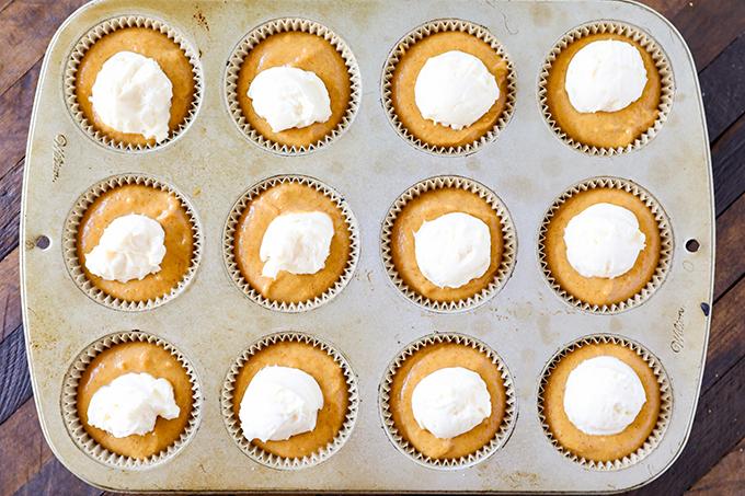 Pumpkin Muffin Batter with Cream Cheese