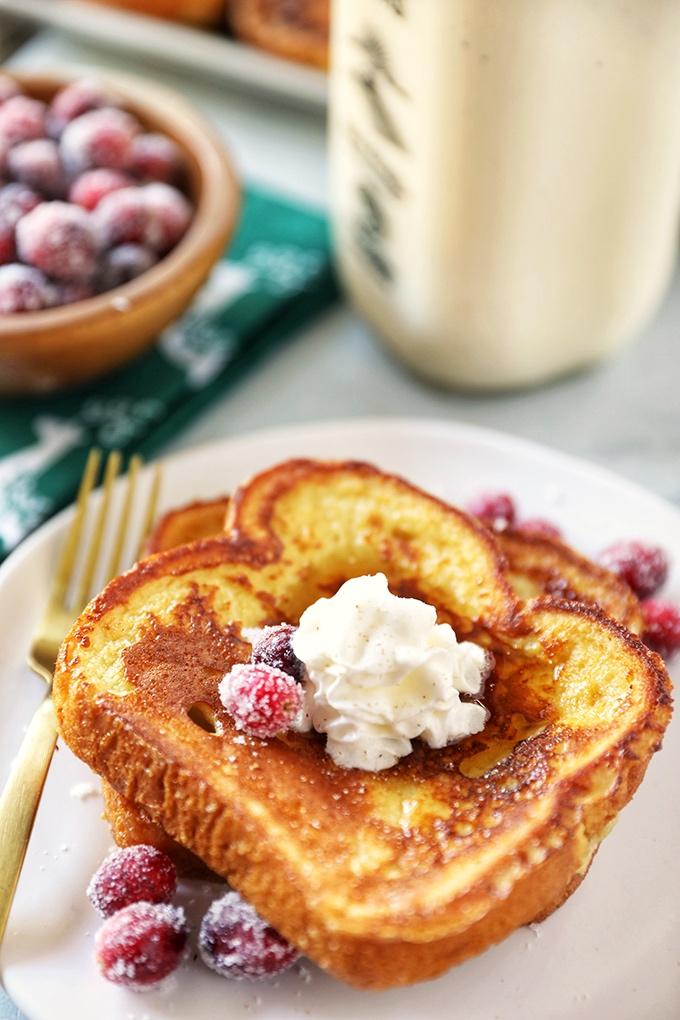 Eggnog French Toast - thick slices of buttery brioche dipped in a rich eggnog custard and cooked until golden brown. The perfect Christmas breakfast!