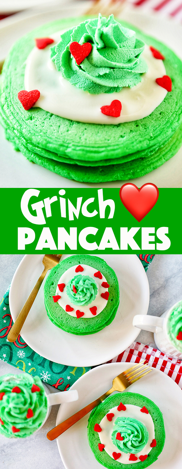 Grinch Pancakes - homemade green buttermilk pancakes with cream cheese frosting, green whipped cream, and red heart sprinkles. These are even better than the IHOP Grinch pancakes!