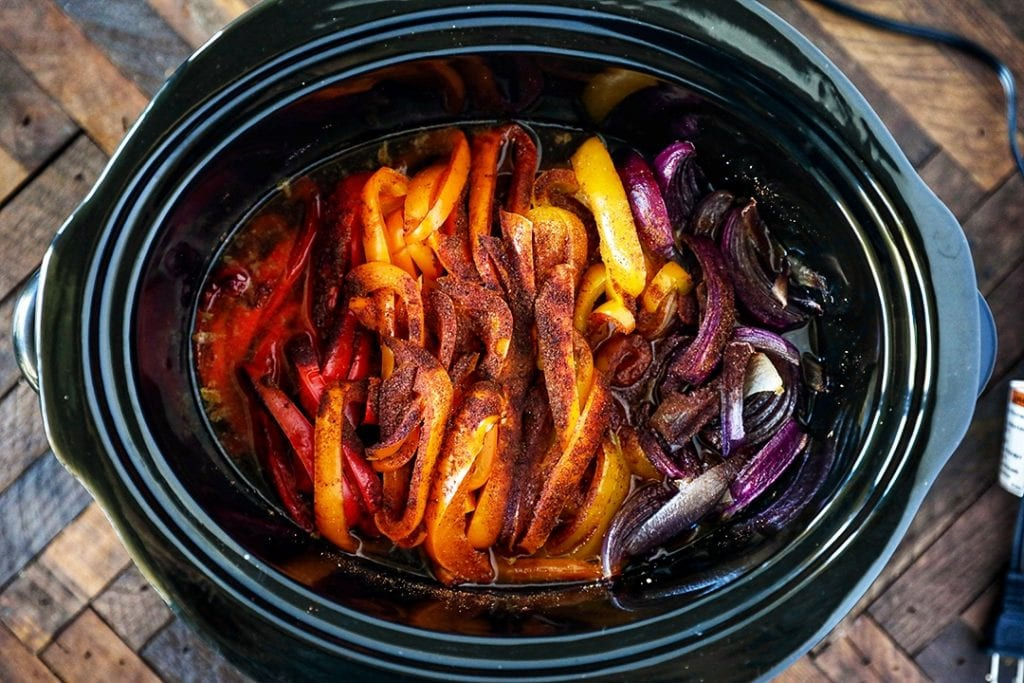 Cooked Fajitas Vegetables in Slow Cooker