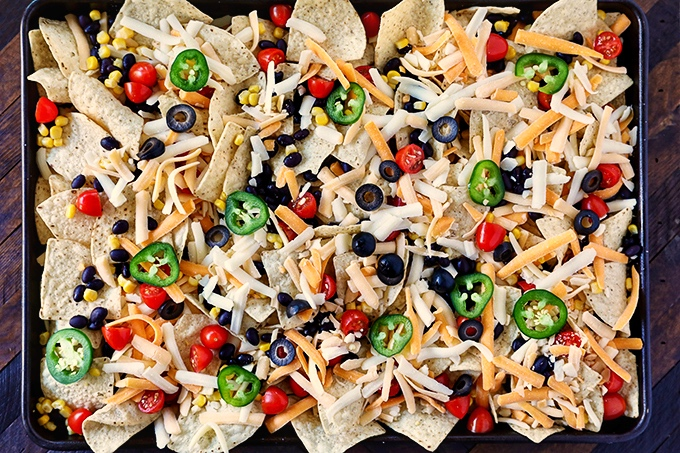 Sheet Pan Nachos before baking