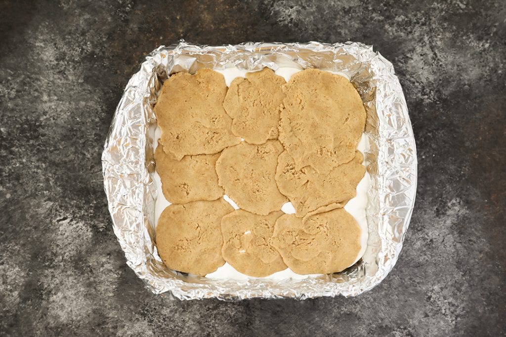 Top layer of S'mores Bars with graham cracker cookie dough