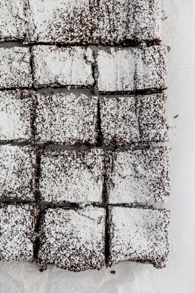 Homemade Brownie with Powdered Sugar