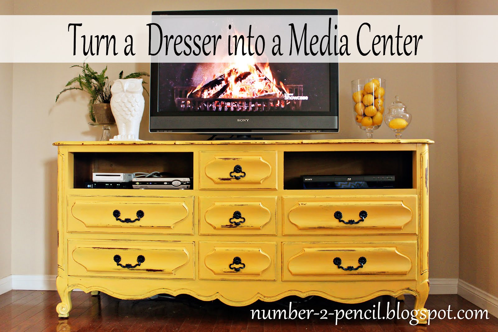 vintage dresser into media center no 2 pencil. Black Bedroom Furniture Sets. Home Design Ideas