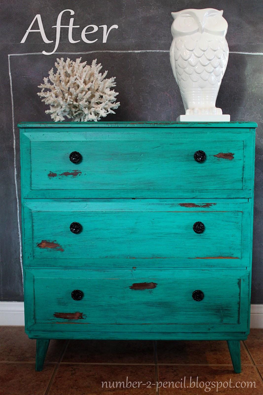 Chippy Turquoise Dresser Vintage Makeover No 2 Pencil