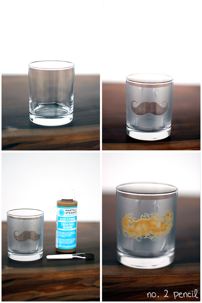 diy mustache glass with martha stewart glass etching cream no 2 pencil. Black Bedroom Furniture Sets. Home Design Ideas