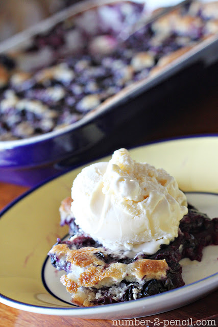 Homemade Blueberry Cobbler with Vanilla Ice Cream