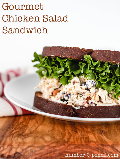 Gourmet Chicken Salad Sandwich with toasted pecan, cranberries and mandarin oranges