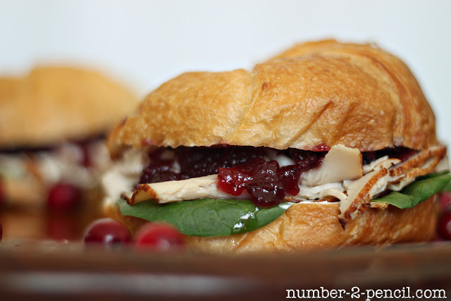 Gourmet Cranberry Turkey Sandwich, with baby spinach and cream cheese.