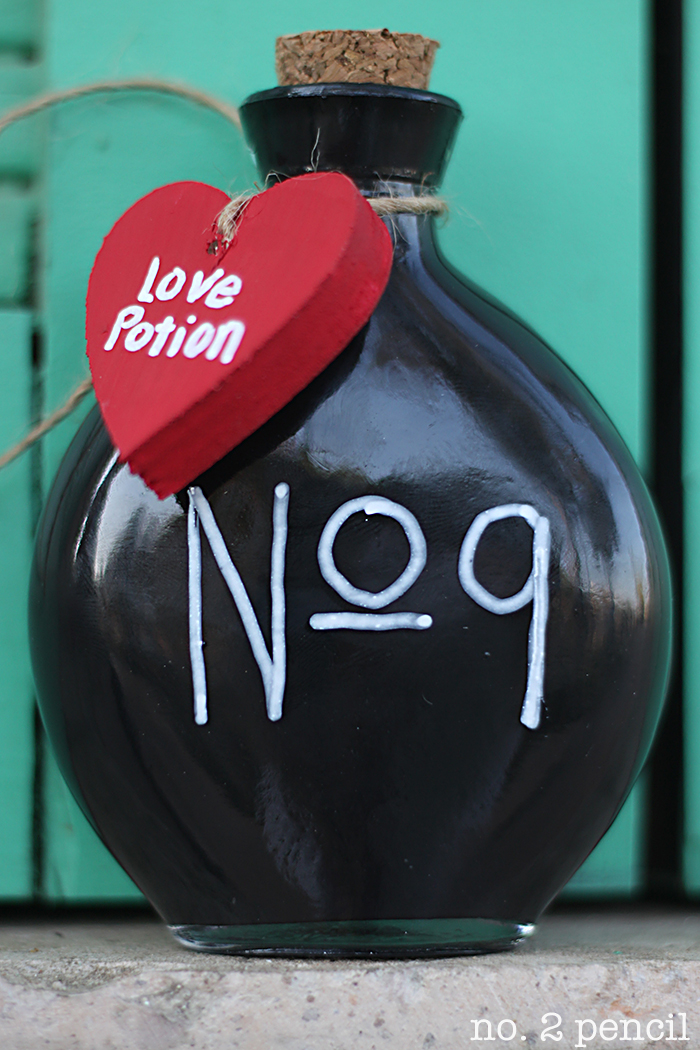 Love No. 9 Bottle - a quick and easy Valentine's Day craft
