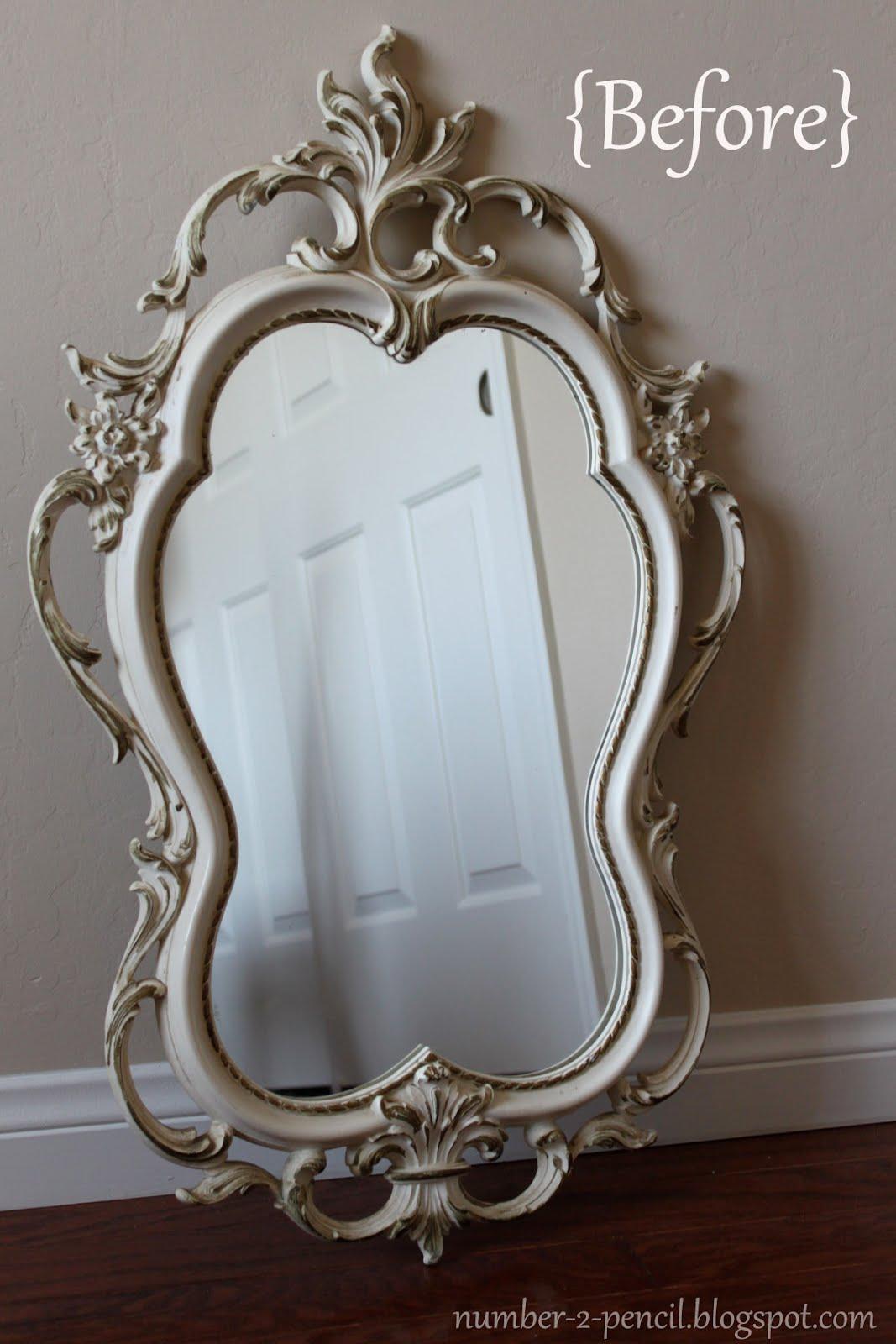 Vintage mirror makeover no 2 pencil for Vintage mirror