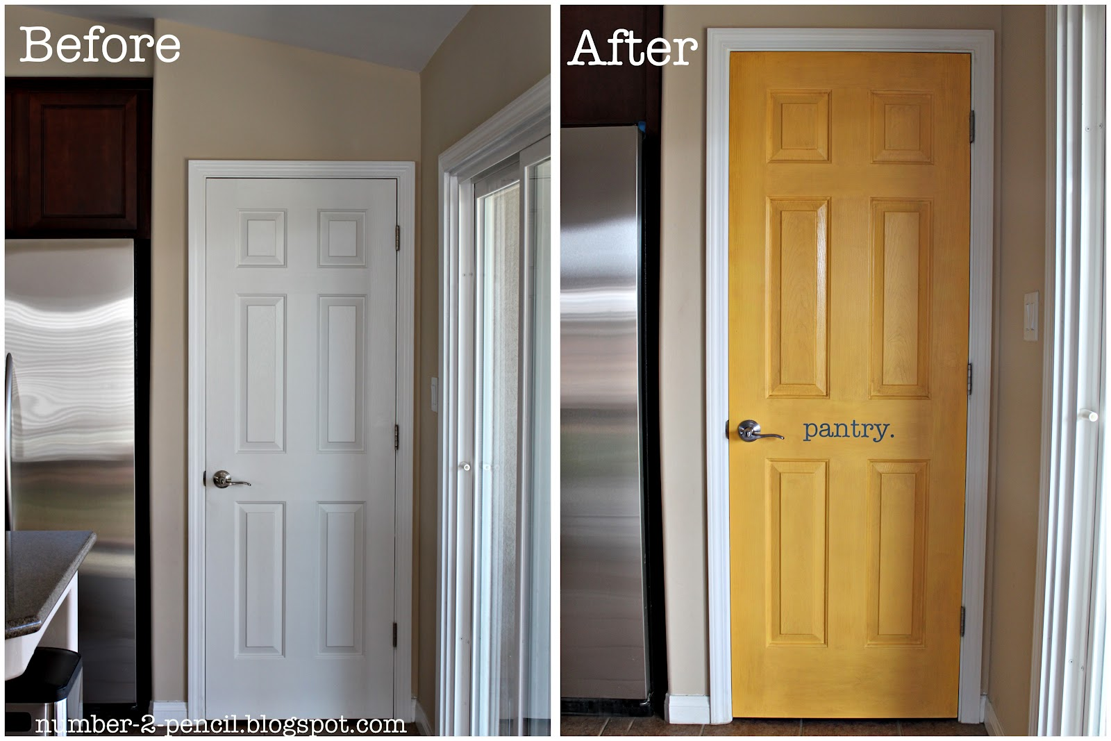 Yellow pantry door makeover no 2 pencil for Painted interior door designs