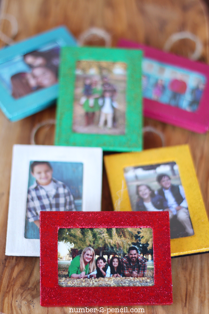 dollar store picture frames turned christmas ornaments